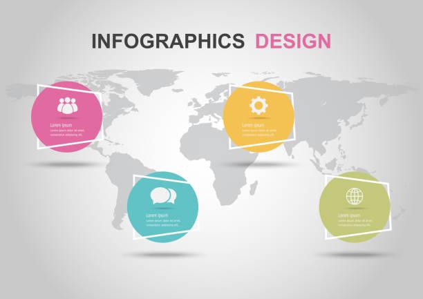 illustrations, cliparts, dessins animés et icônes de modèle de conception infographique avec des bannières de cercle - infographie processus