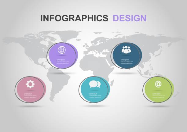 illustrations, cliparts, dessins animés et icônes de modèle de conception infographique avec des bannières de cercle plat - infographie processus