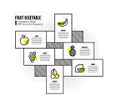 Infographic design template with fruit vegetable keywords and icons