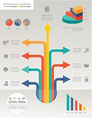 Infographic design template with graphic elements set.