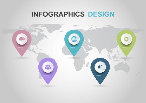 illustrations, cliparts, dessins animés et icônes de modèle de conception infographique avec broches - infographie processus