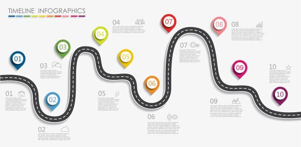 ilustraciones, imágenes clip art, dibujos animados e iconos de stock de plantilla de diseño de infografía con el lugar para sus datos. ilustración de vector. - vía