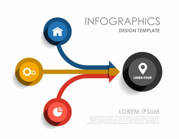 ilustrações de stock, clip art, desenhos animados e ícones de infographic design template with place for your data. vector illustration. - terceira