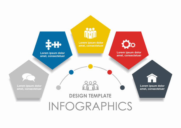 ilustrações de stock, clip art, desenhos animados e ícones de infographic design template with place for your data. vector illustration. - quinta
