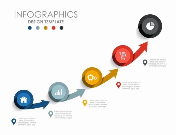 infografik-designvorlage mit platz für ihre daten. vektor-illustration. - treppe stock-grafiken, -clipart, -cartoons und -symbole