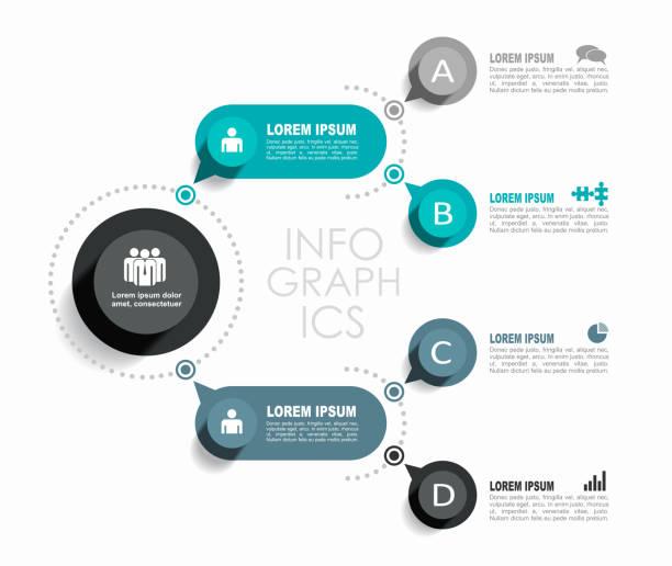 ilustraciones, imágenes clip art, dibujos animados e iconos de stock de plantilla de diseño infográfico con lugar para sus datos. ilustración vectorial. - infografías