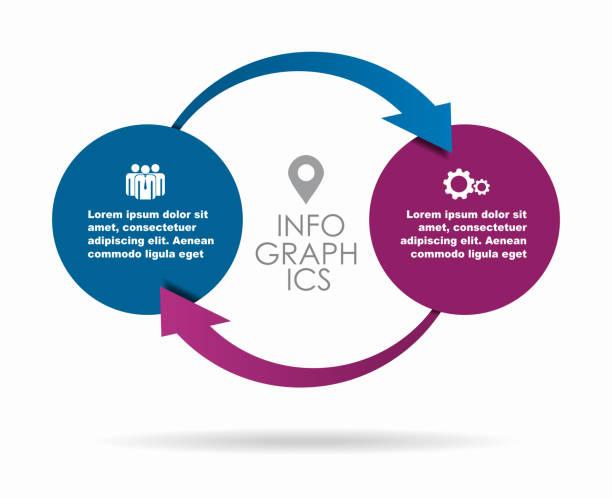 ilustrações, clipart, desenhos animados e ícones de modelo de design infográfico com lugar para seus dados. ilustração do vetor. - dois objetos