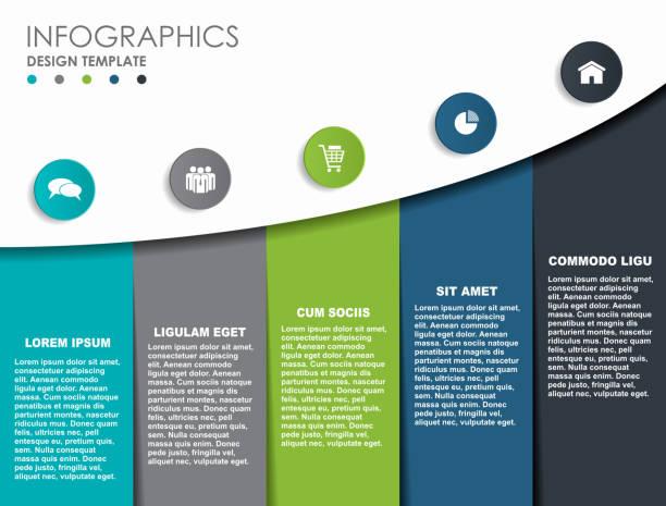 stockillustraties, clipart, cartoons en iconen met infographic ontwerpsjabloon met plaats voor uw gegevens. vectorillustratie. - vijf dingen