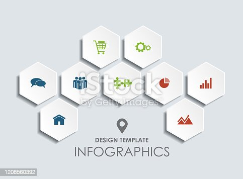 istock Infographic design template with place for your data. Vector illustration. 1208560392