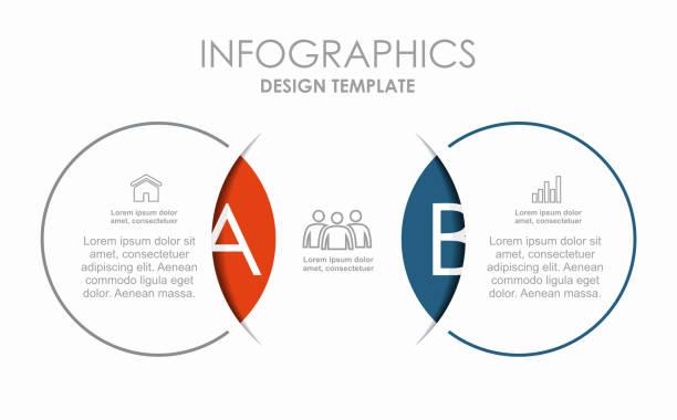 ilustrações, clipart, desenhos animados e ícones de modelo de design infográfico com local para seus dados. ilustração vetorial. - dois objetos