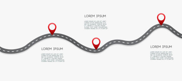 Infographic design template with place for your text. Asphalt road with three pin on it. Vector illustration. Infographic design template with place for your text. Asphalt road with three pin on it. Vector illustration. road stock illustrations