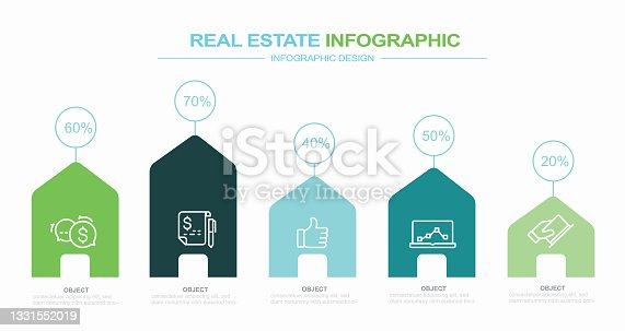 istock Infographic design template with real estate keywords and icons stock illustration Chart, House, Infographic, Residential Building 1331552019