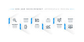 Infographic design template with SEO and development keywords and icons