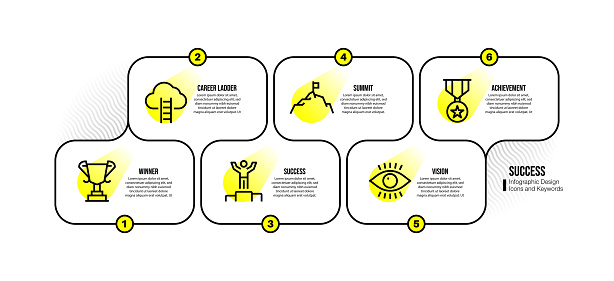Infographic design template with success keywords and icons