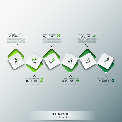 Infographic design template with timeline and 6 connected square elements in green color