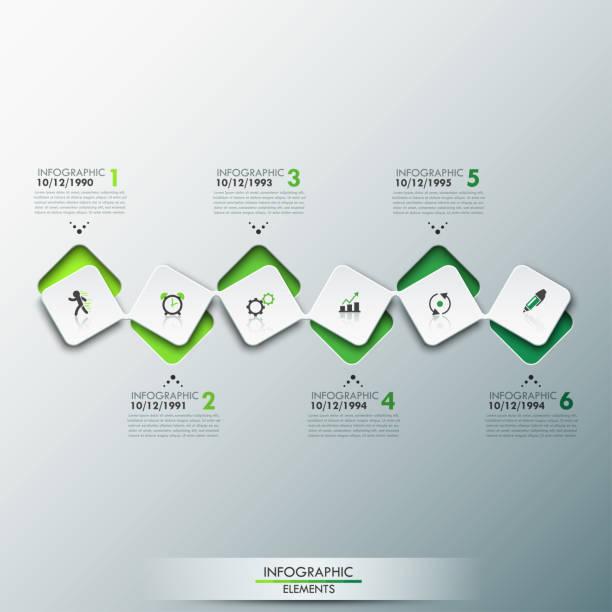 infographische designvorlage mit timeline und 6 miteinander verbundenen quadratischen elementen in grüner farbe - storytelling grafiken stock-grafiken, -clipart, -cartoons und -symbole