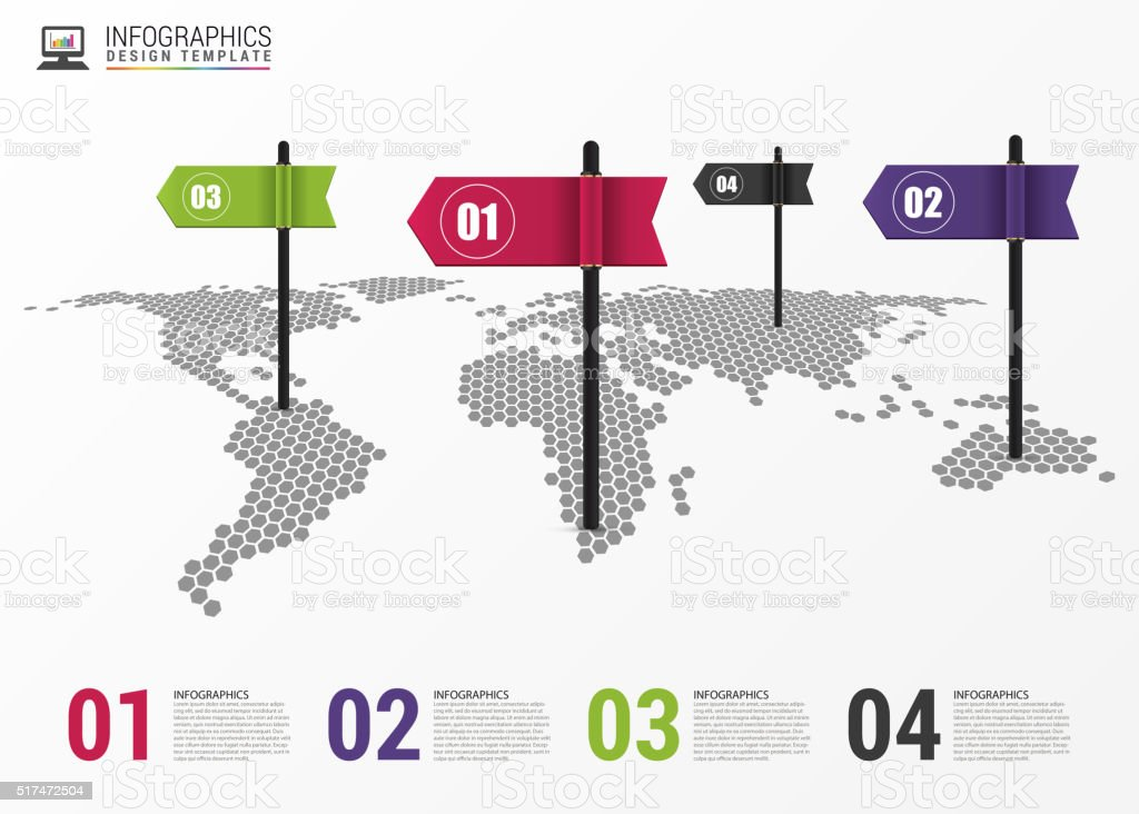 Infographic design template world map with pointer vector stock infographic design template world map with pointer vector royalty free infographic design template gumiabroncs Choice Image
