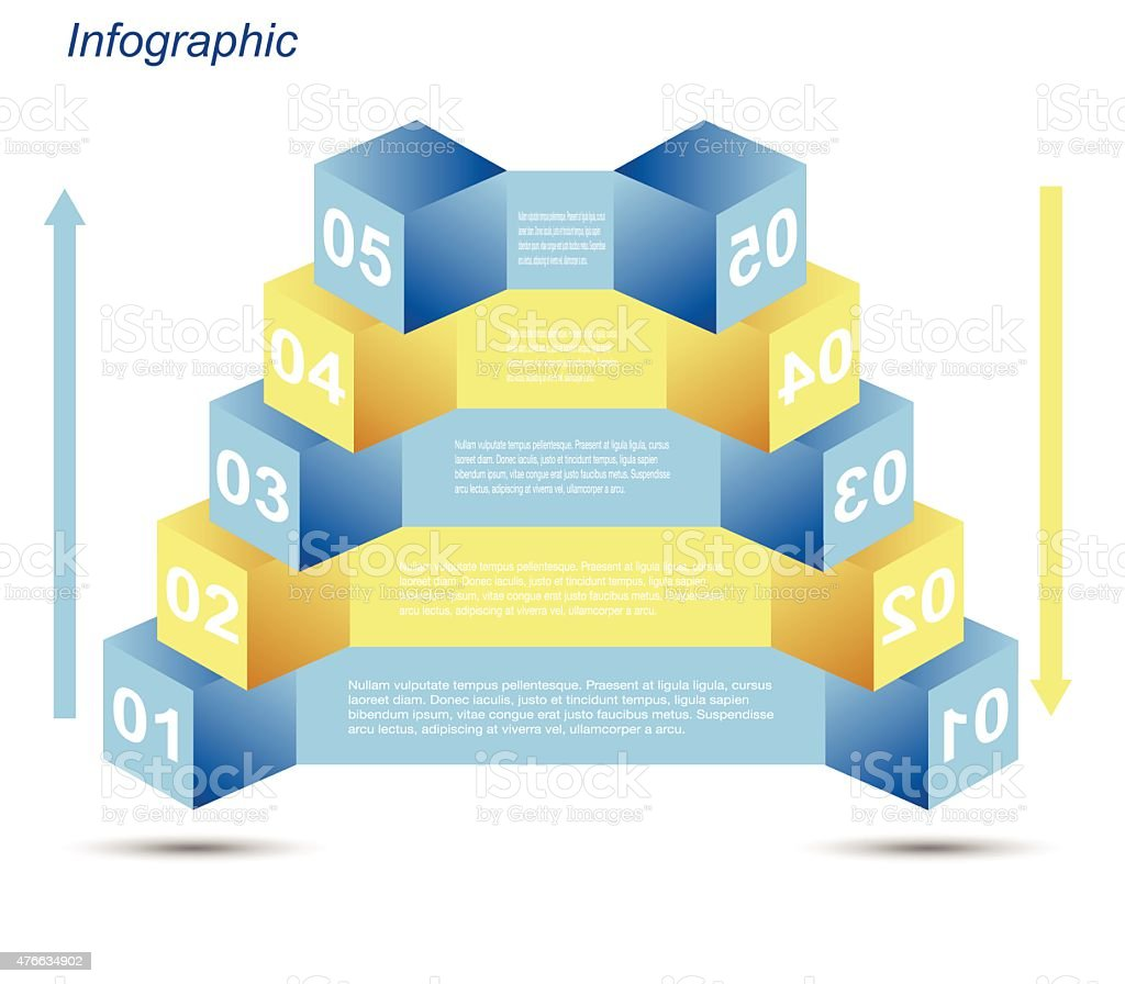 Infographic Design Templates In The Form Of A 3d Box Stock