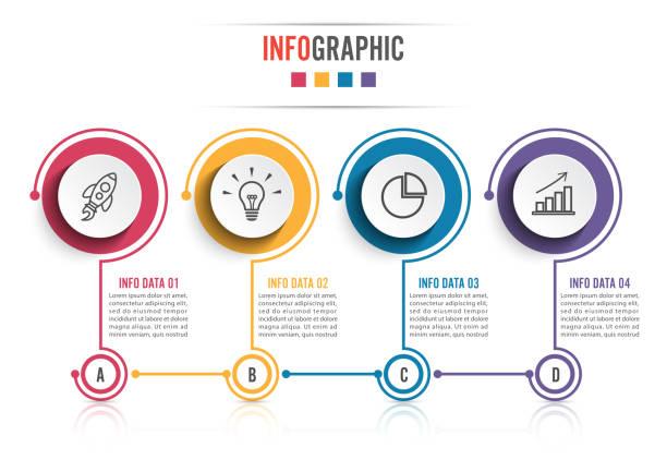 Iconos de vector y marketing de diseño infográfico pueden utilizarse para el diseño de flujo de trabajo, diagrama, informe anual, diseño web. Concepto de negocio con 4 opciones, pasos o procesos. - ilustración de arte vectorial