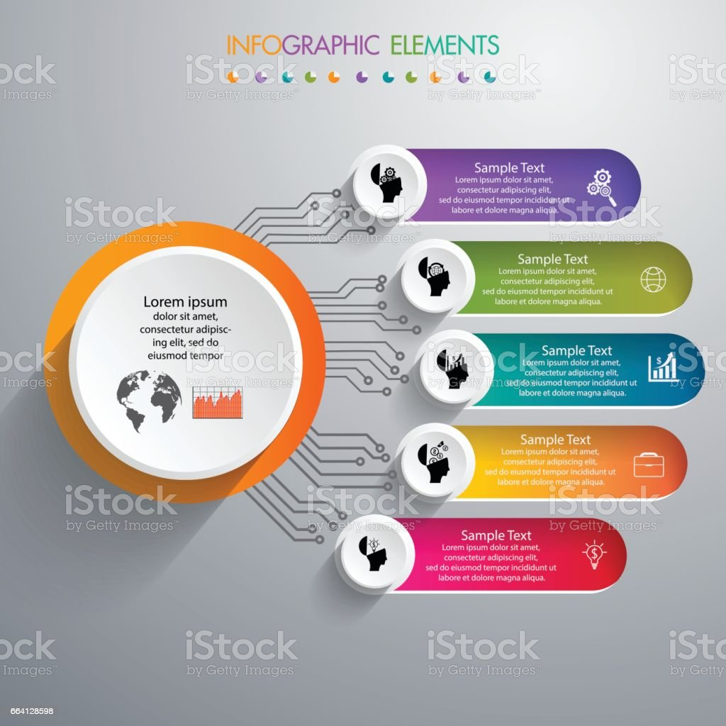 Infographic design vector and template marketing icons and  Business concept with 5 options, steps or processes. infographic design vector and template marketing icons and business concept with 5 options steps or processes - immagini vettoriali stock e altre immagini di affari royalty-free