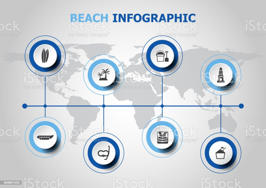 Infographic design with beach icons vector art illustration