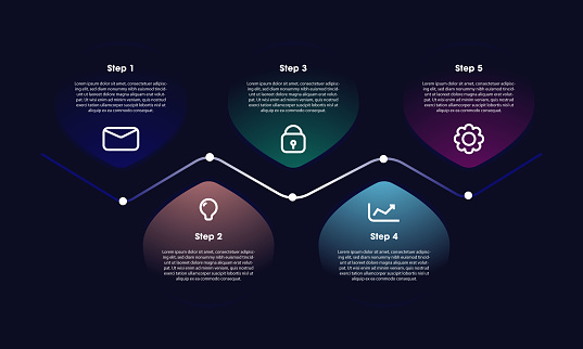 Infographic design with icons and 5 options or steps stock illustration