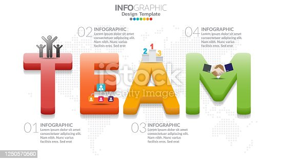 Infographic diagram with word TEAM. Teamwork concept.