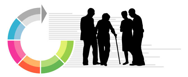 infographic elder assistance - old man standing drawings stock illustrations, clip art, cartoons, & icons