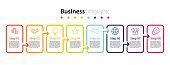 infographic element design 8 step, infochart planning