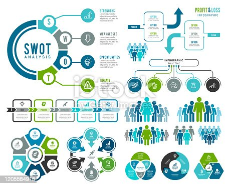 Vector illustration of the SWOT Analysis infographic element.