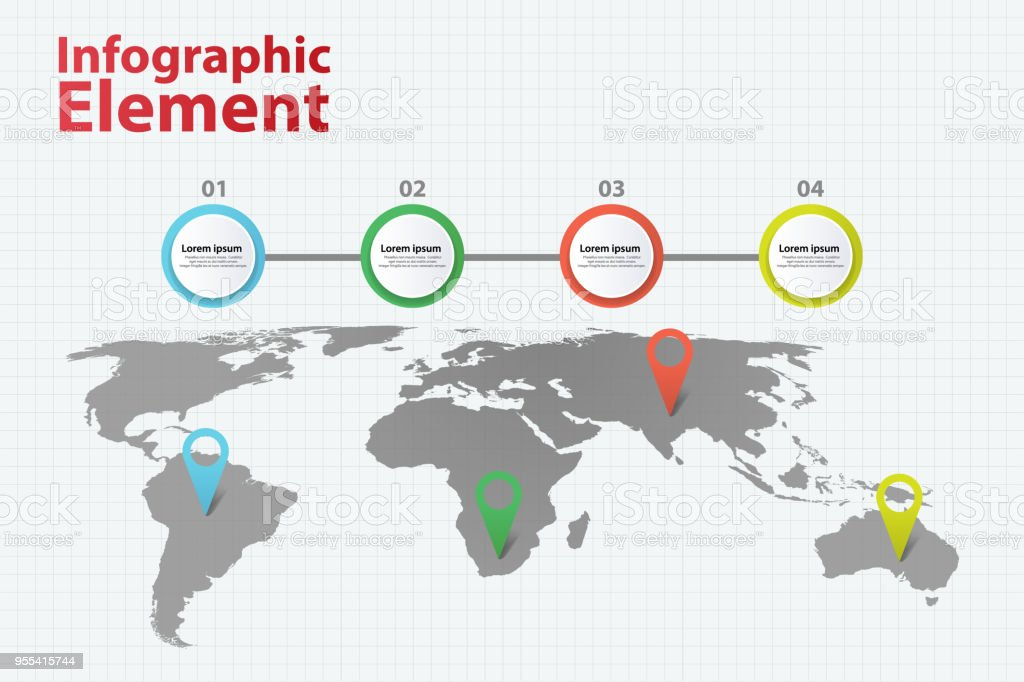 Infographic element world map infographics with 4 different option infographic element world map infographics with 4 different option royalty free infographic element world map gumiabroncs Gallery