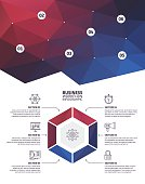 Six step infographic elements on colourful, abstract, triangle geometric background.