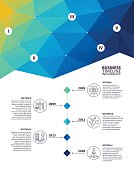 Five step infographic elements on colourful, abstract, triangle geometric background.