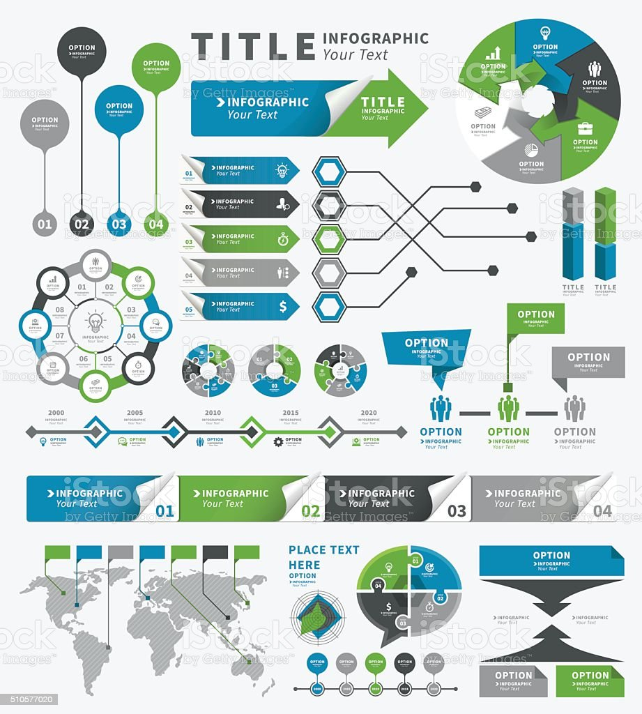 Conjunto de elementos de infografía y plazos - ilustración de arte vectorial