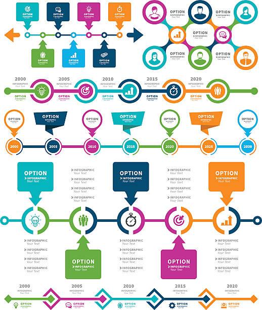 infografik-elemente und timeline set  - flowchart infografiken stock-grafiken, -clipart, -cartoons und -symbole