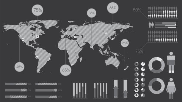 Eléments infographiques en noir et blanc - Illustration vectorielle