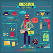Infographic elements in retro style. Hipster features.