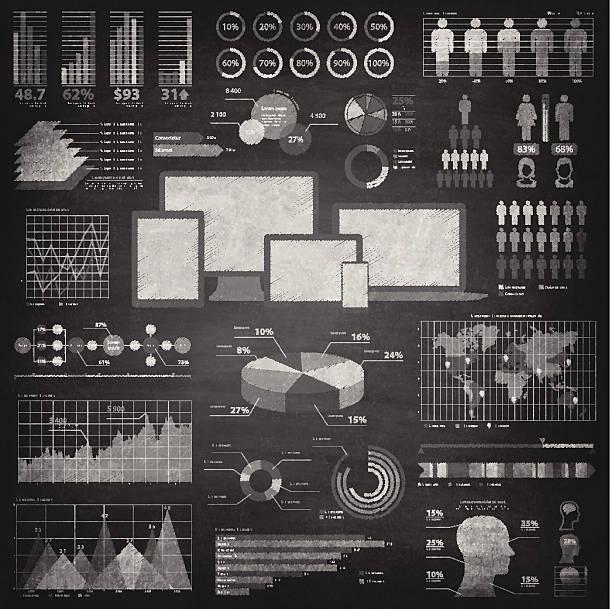 illustrations, cliparts, dessins animés et icônes de éléments infographiques sur tableau noir-chalkboard - tableaux et graphiques