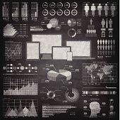 Infographic elements on Blackboard - Chalkboard