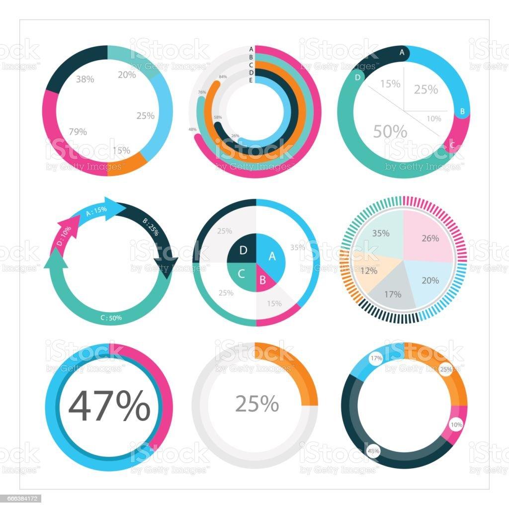 Infographic Elements, Pie chart set icon. vector art illustration