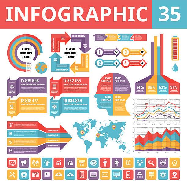ilustraciones, imágenes clip art, dibujos animados e iconos de stock de infografía elementos-conjunto de 35 - infografías demográficas