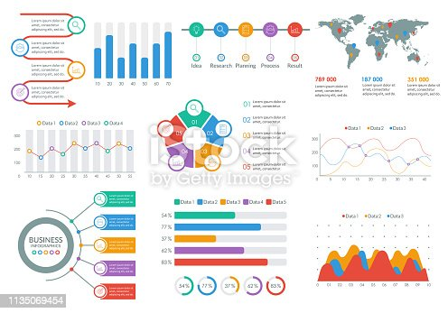 Infographic elements set. Infographics Dashboard template with graph, flow chart, diagram. Business report and presentation design. Modern UI graphic data. Vector illustration.