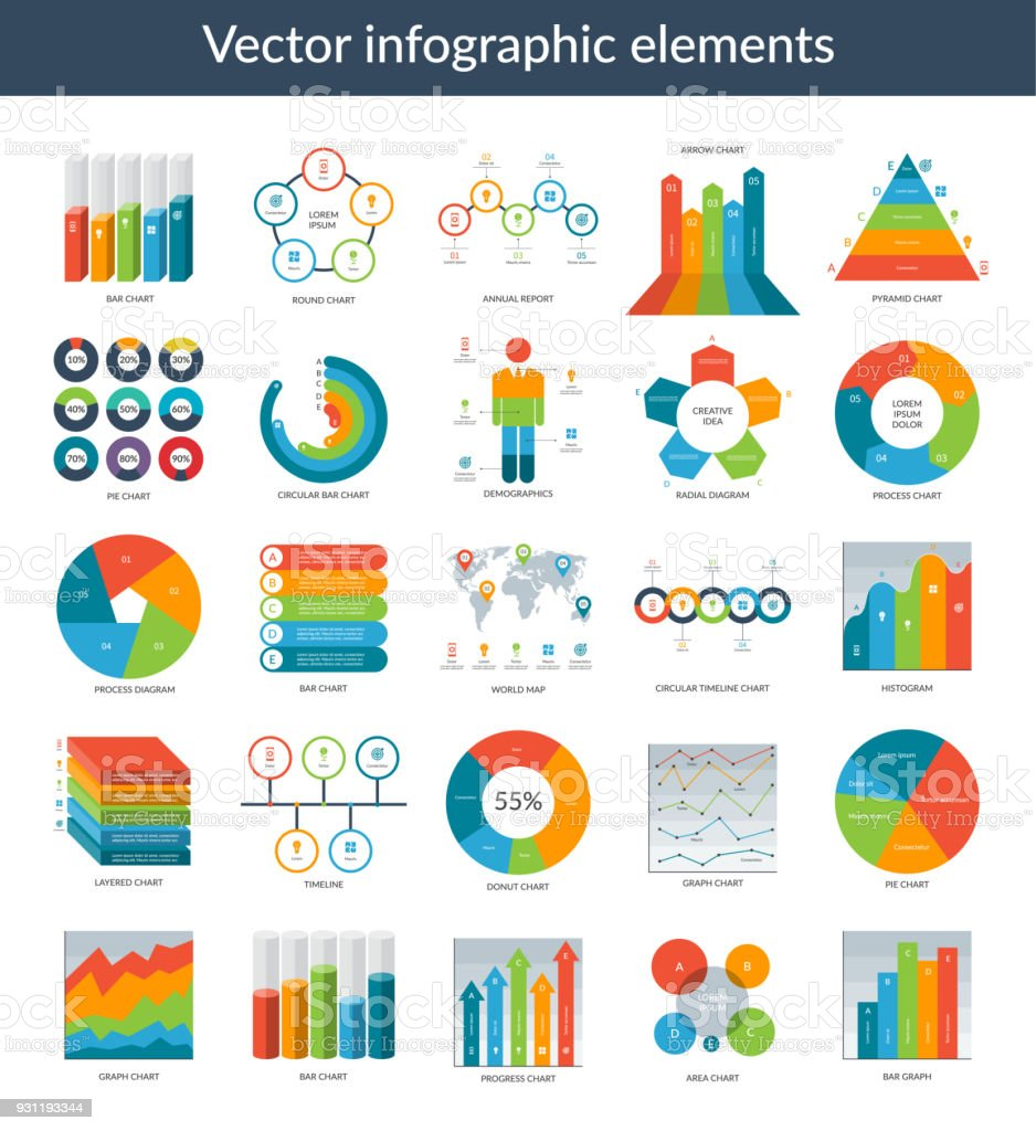 infographic elements set of simple templates circle pie chart world