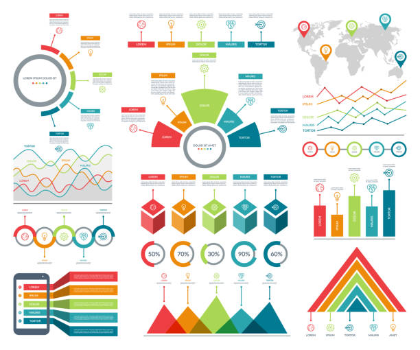 ilustrações de stock, clip art, desenhos animados e ícones de infographic elements set with simple templates for business analytics, data visualization, presentation. vector kit with diagrams, histograms, timeline, pie charts. - circular economy