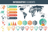 Infographic Elements Set. World map, markers, charts and other elements. Business infographic. Vector illustrationInfographic Elements Set. World map, markers, charts and other elements. Business infographic. Vector illustration