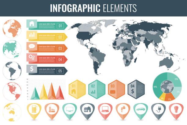 infographic elements set. world map, markers, charts. vector - 金融と経済点のイラスト素材/クリップアート素材/マンガ素材/アイコン素材