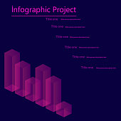 Infographic elements, statistic of data and diagrams. Isometric Vector.