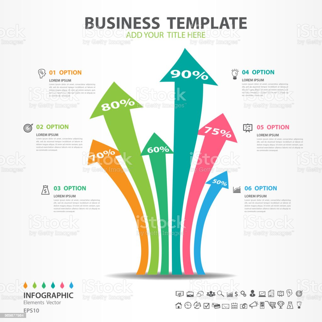 Infographic Elements Template Vector Arrow Diagram With 6 Steps Flow Process Presentation Chart