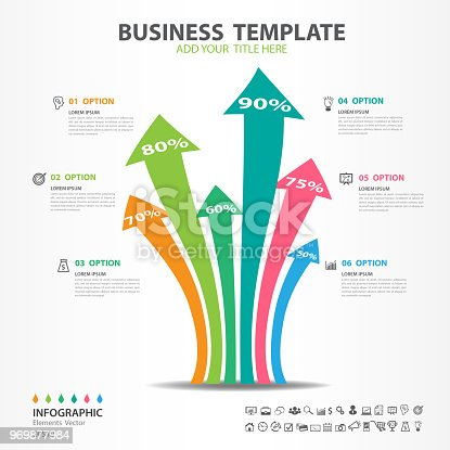 Infographic Elements Template Vector Arrow Diagram With 6 Steps Flow