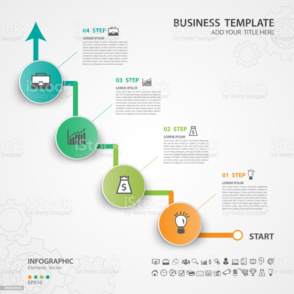 Infographic Elements Template Vector Circle Diagram With 4 Steps Process Flow Presentation Chart